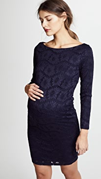 Boat Neck Lace Maternity Dress