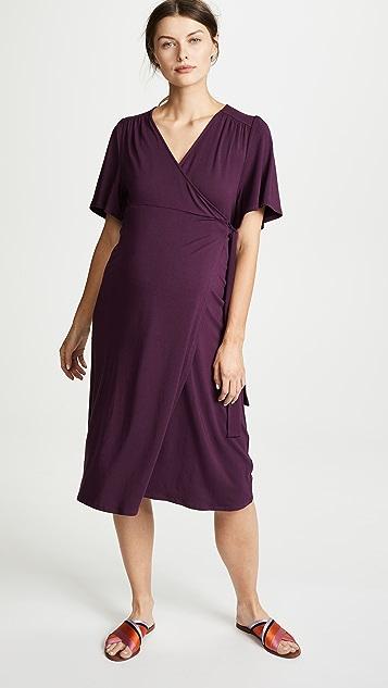 Ingrid & Isabel Flutter Sleeve Knit Maternity Wrap Dress