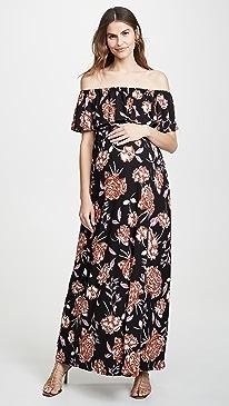 Off the Shoulder Smocked Maxi Dress
