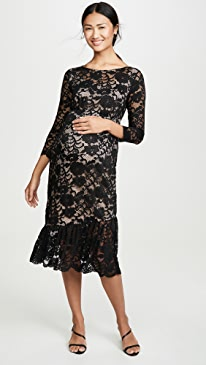 3/4 Sleeve Flounce Hem Lace Dress