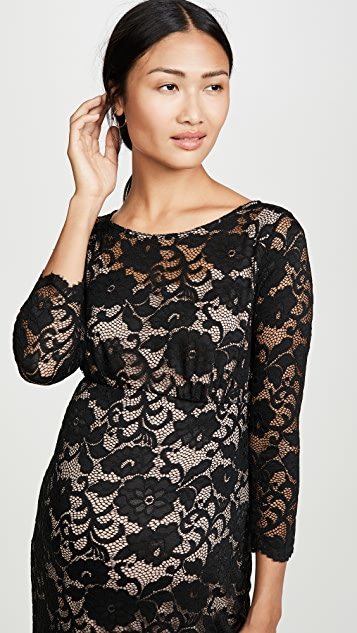 Ingrid & Isabel 3/4 Sleeve Flounce Hem Lace Dress