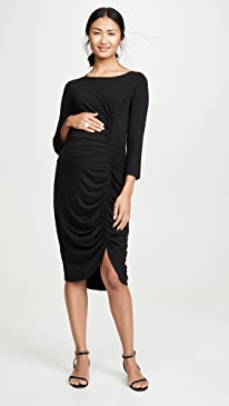 3/4 Sleeve Front Shirred Dress