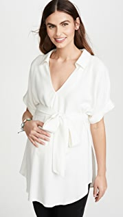 Ingrid & Isabel Popover Tie Waist Maternity Shirt