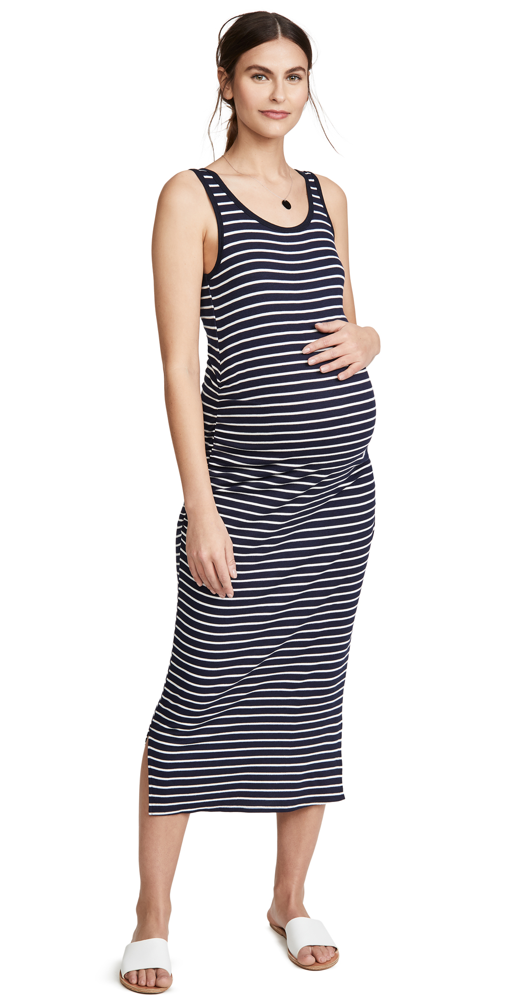 Ingrid & Isabel Ribbed Tank Maternity Midi Dress