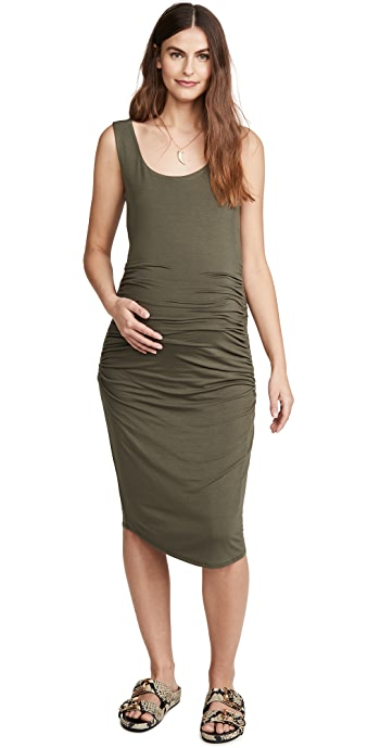 Ingrid and Isabel Ruched Maternity Tank Dress - Olive