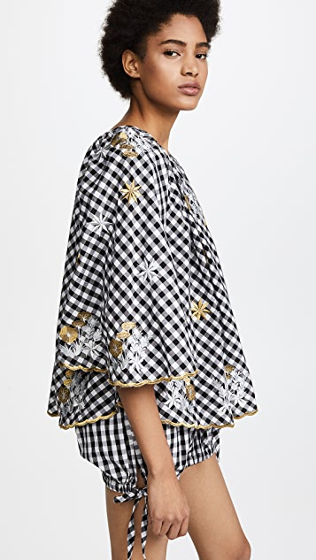 Innika Choo Gingham Bell Sleeve Crop Top