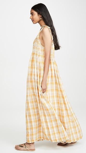 Innika Choo Linen Strappy Smocked Maxi Dress