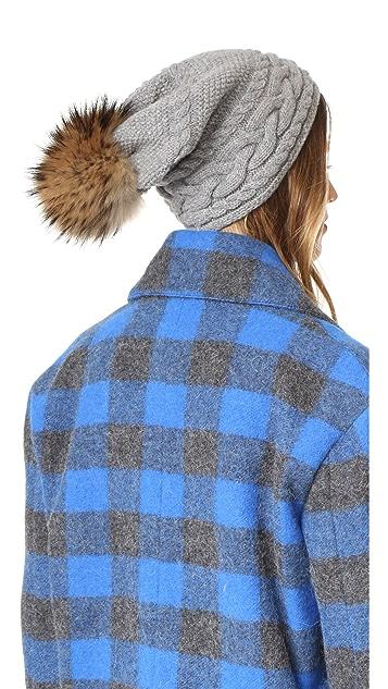Inverni Braided Slouchy Hat with Pom