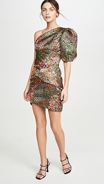 IORANE Multicolor Floral One Shoulder Mini Dress