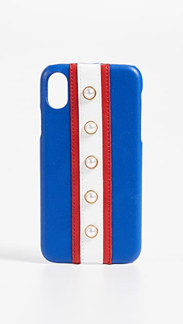 Iphoria Stripes & Imitation Pearls iPhone X Case