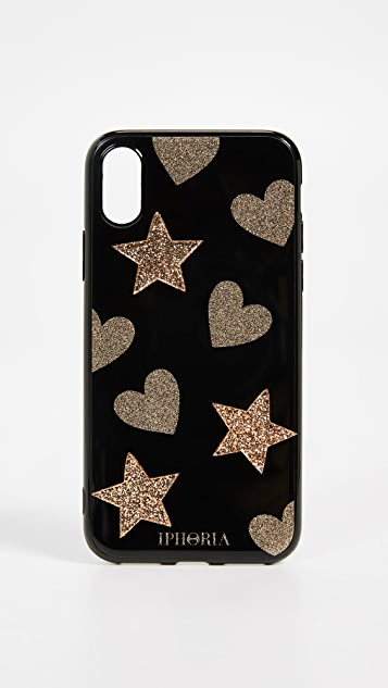 Iphoria Glitter Heart & Star iPhone X Case