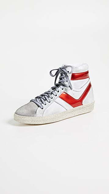 IRO Bastno High Top Sneakers - White/Red