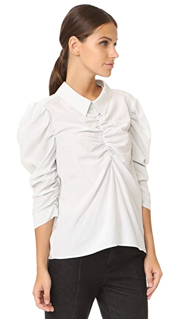 Isa Arfen Gathered Puff Sleeve Shirt