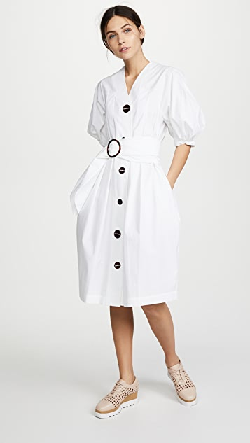 Isa Arfen Full Sleeve Button Down Dress - White