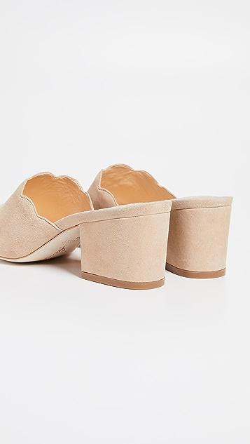 Isa Tapia Chiqui Scalloped Block Heel Slides