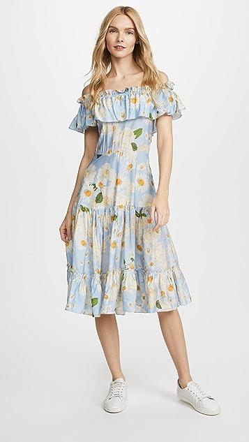 Isolda Viscose Domingo Dress - Blue Floral