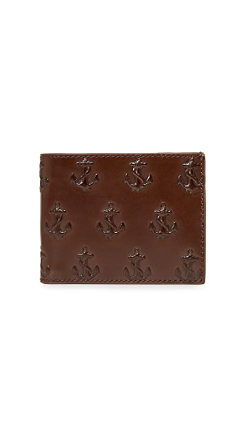 Jack Spade Embossed Anchor Slim Billfold Wallet