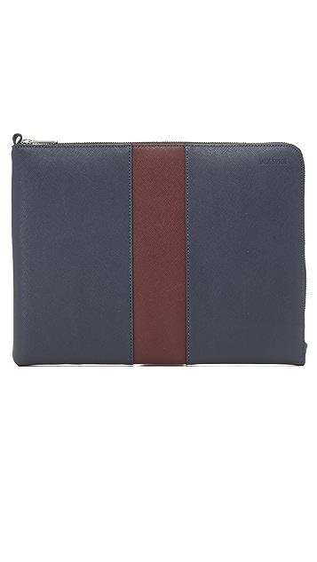 Jack Spade Striped Barrow Leather Large Portfolio