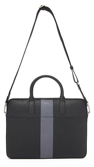 Jack Spade Striped Barrow Leather Portfolio Briefcase