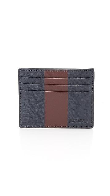 Jack Spade Striped Barrow Leather 6 Card Holder
