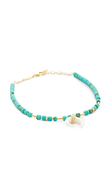Jacquie Aiche JA Double Bone Horn Turquoise Beaded Anklet