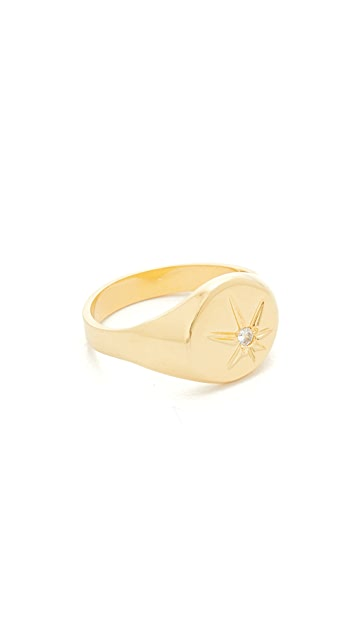 Jacquie Aiche JA Burst Flat Top Signet Pinky Ring