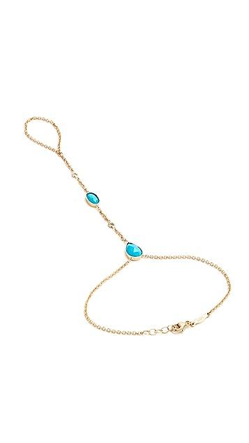 Jacquie Aiche Turquoise & Diamond Hand Chain