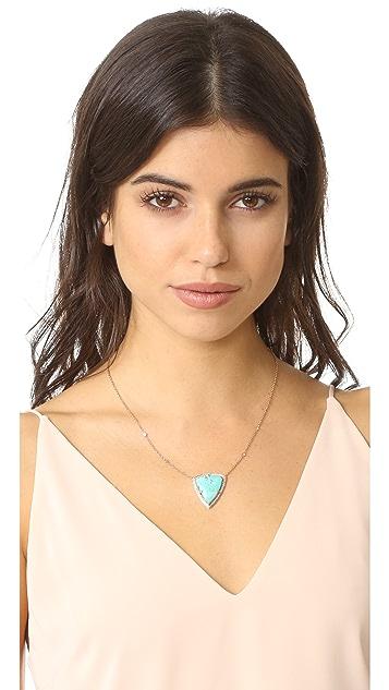 Jacquie Aiche 14k Gold Pave Turquoise Bezel Diamond Necklace