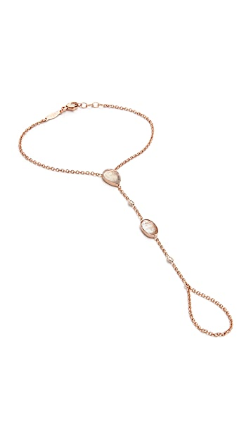 Jacquie Aiche 14k Rose Gold Moonstone & Diamond Hand Chain