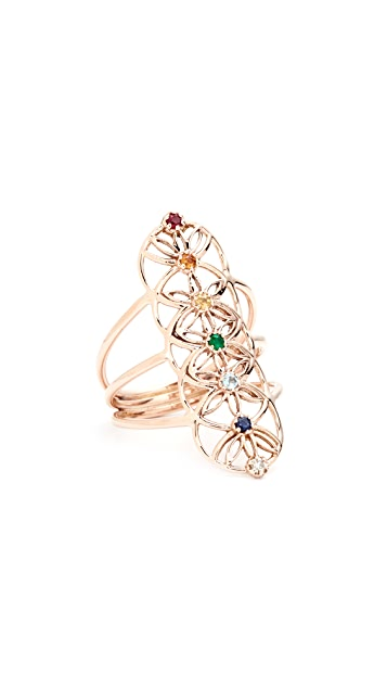 Jacquie Aiche 14k Gold S&H Gemstone Chakra Ring