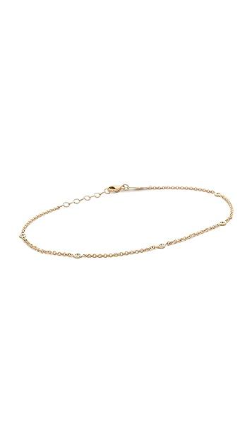 Jacquie Aiche 14k Gold 5 Diamond Anklet