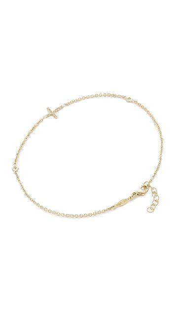 Jacquie Aiche 14k Gold Pave Cross Diamond Anklet
