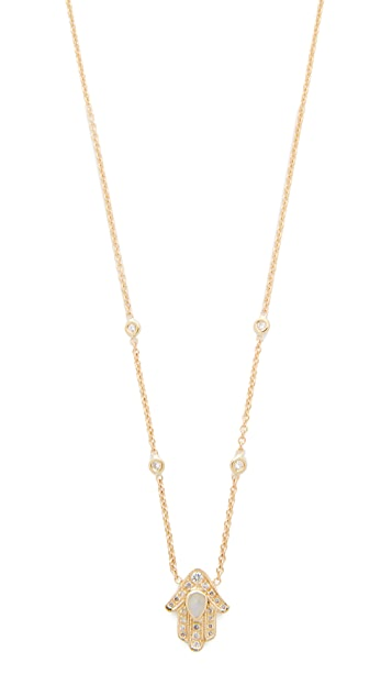 Jacquie Aiche 14k Gold Hamsa Hand Diamond Necklace