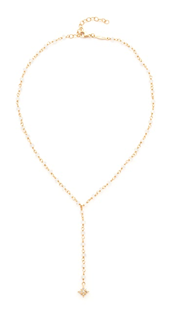 Jacquie Aiche 14k Gold Pave Shining Star Beaded Rosary