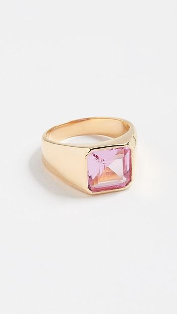 Jacquie Aiche Square Crystal  Baguette Signet Ring
