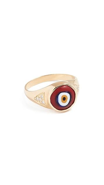 Jacquie Aiche CZ Round Eye Signet Ring