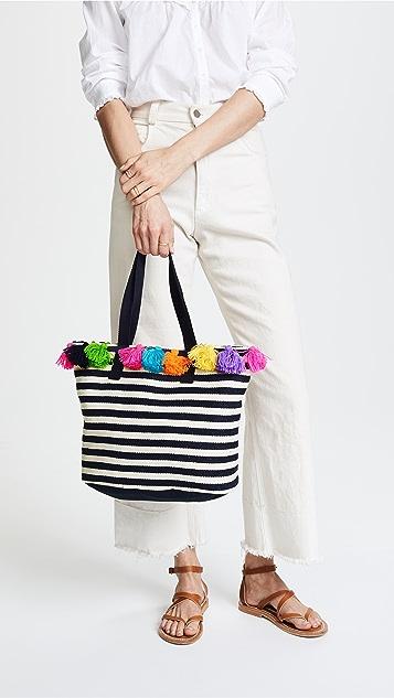 JADEtribe Valerie Small Bucket Mini Tassel Bag - Indigo/Multi
