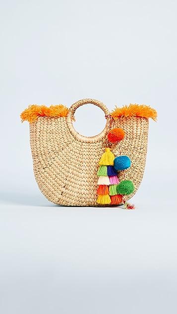 JADEtribe Basket Small Fringe Tassel Tote