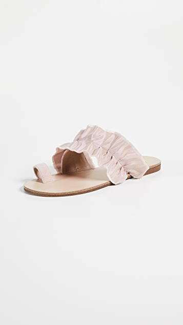 JAGGAR Gathered Ruched Sandals - Nude