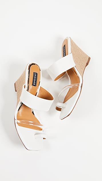 JAGGAR Wedged Strappy Toe Ring Sandals