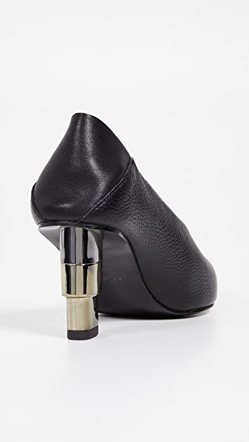 JAGGAR V Cut Pebbled Heel Pumps