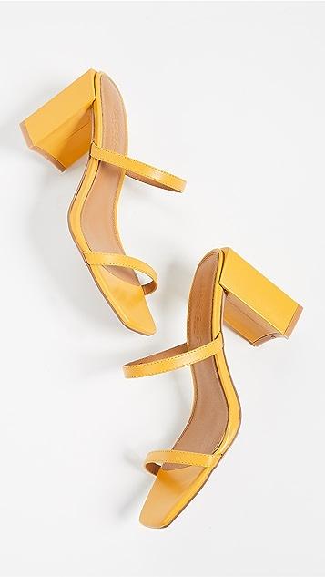 JAGGAR Туфли без задников на каблуке с квадратным каблуком и двумя ремешками