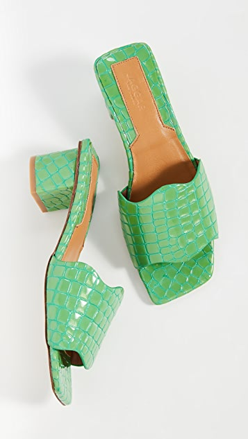 JAGGAR Scallop Croc Heel Slides