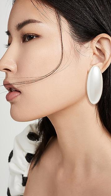 JW Anderson 椭圆绿树脂珍珠耳环