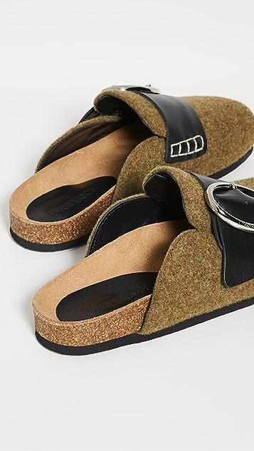 JW Anderson 毛毡乐福鞋