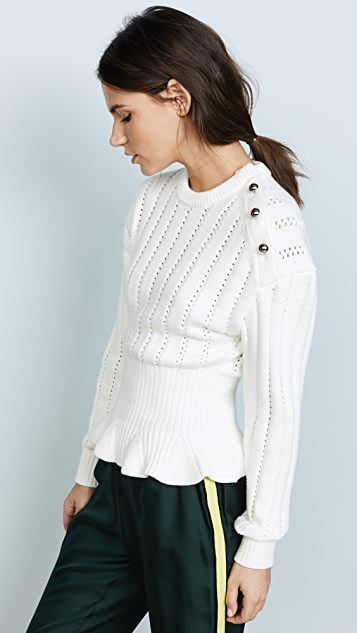 Jason Wu Long Sleeve Peplum Sweater