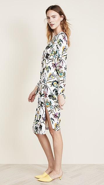 Jason Wu Printed LS Dress with Ties