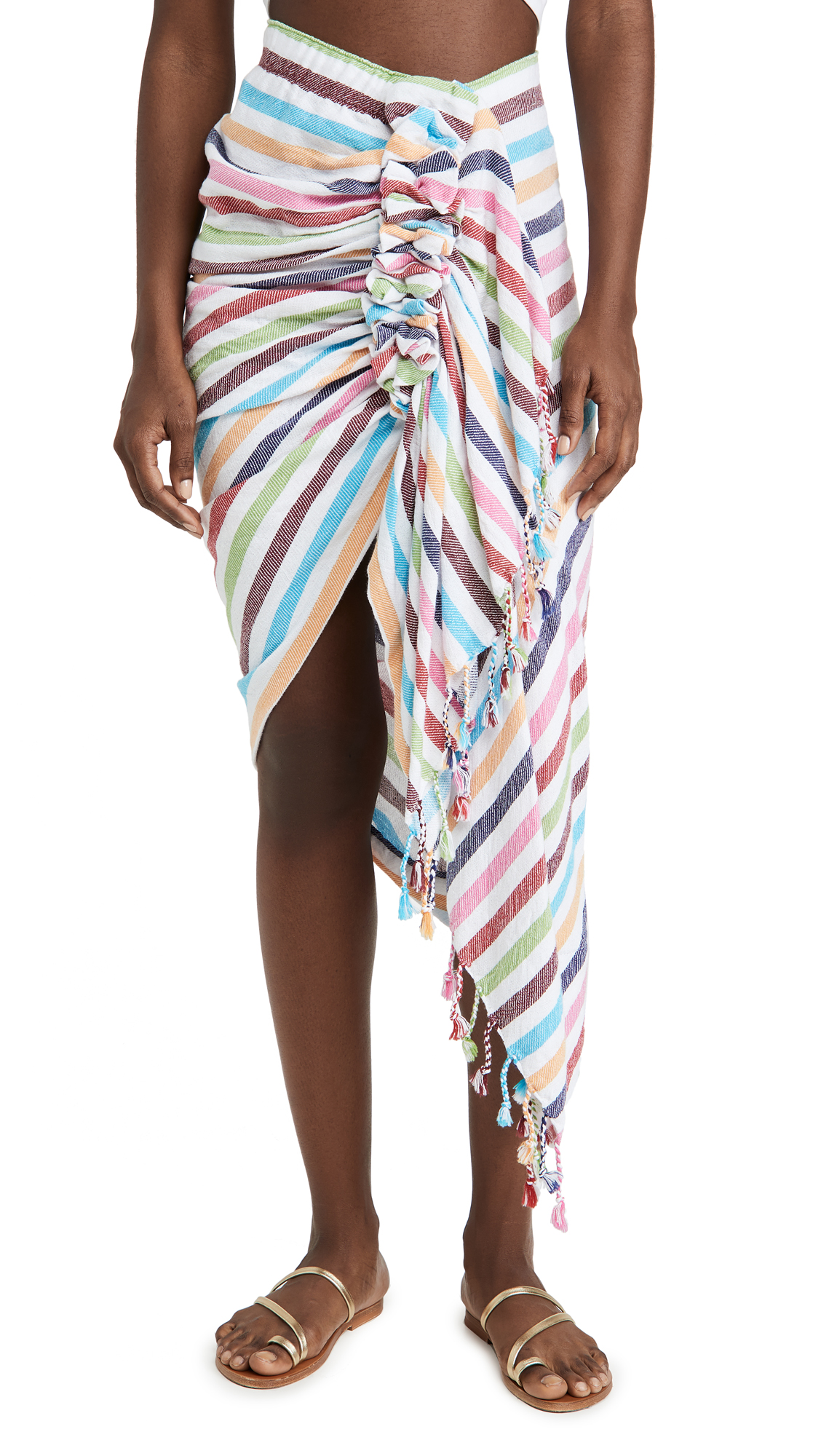 Just Bee Queen Tulum Cotton Striped Asymmetric Skirt In Rainbow