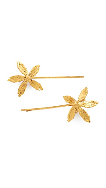 Jennifer Behr Petite Crystal Orchid Bobby Pin Set