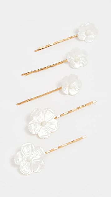 Mother Of Pearl Flower Bobby Pin Set by Jennifer Behr